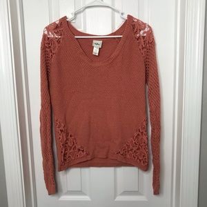 Day trip Buckle Coral Knit Crochet Sweater